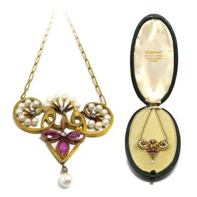FRENCH ART NOUVEAU, 18K gold, natural pearl and natural, vivid pink sapphire and diamond necklace by