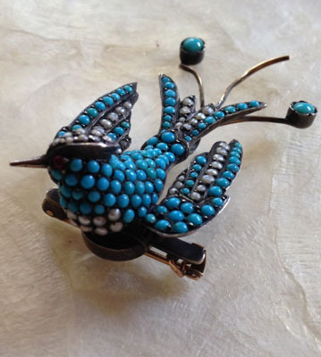 19th century silver and gold, turquoise, pearl, swallow brooch