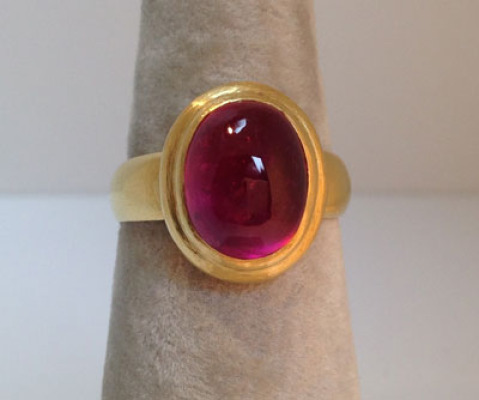 Rubellite Cab and 22K gold ring