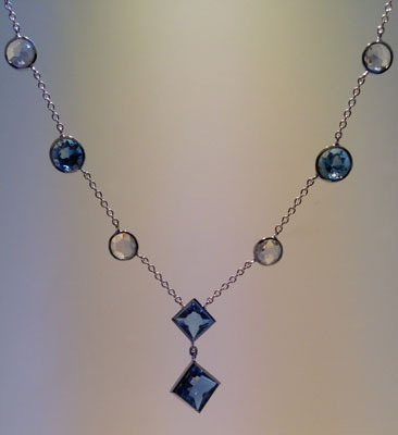 Aquamarine & Diamond Platinum Necklace